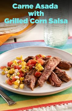 A grilled steak recipe marinated in lime juice and seasonings, and served with a salsa made of grilled fresh corn, tomatoes, onion and cilantro