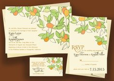 Orange Grove - Printable Wedding Invitation #handdrawn #drawing #artsy #orchard #citrus