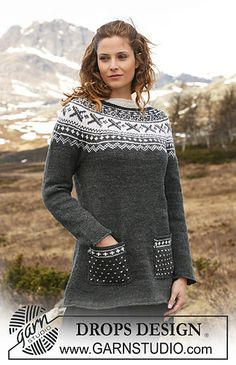 "Strikket DROPS tunika med rundfelling i ""Karisma"". ~ DROPS Design I probably wouldn't do the pockets. Fair Isle Knitting Patterns, Knitting Stitches, Free Knitting, Finger Knitting, Scarf Patterns, Drops Design, Tejido Fair Isle, Fair Isle Pullover, Magazine Drops"