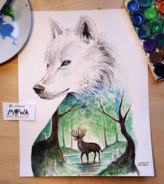 "MOWA op Instagram: ""Another Studio Ghibli inspired painting! Princess Mononoke  Prints available at www.mowa.ca . #wolf #miyazaki #painting #illustration #art #myart #arts_help #nature #forest #tree #ghibli #watercolor #drawing #sketchbook #illustrateyourworld #artsy #arts_gallery #artshow #explore #tacart #worldofartists #supportart"""