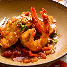 Sautéed Snapper & Shrimp with Creole Sauce ~ In this island-inspired fish recipe, celery, bell pepper, tomatoes and wine complement the shrimp and fish. Serve this healthy fish recipe with brown rice, couscous or quinoa to soak up the fragrant sauce.