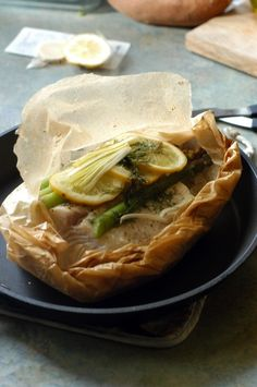 How to bake halibut or salmon in parchment paper. This recipe is baked halibut with asparagus, leeks & dill. Thanks, Shauna!