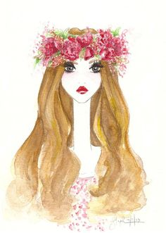 flower crown fashion illustration Stephanie Jimenez