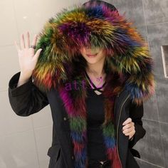 8f5be5ae08e Winter Real Fox Fur Hooded Fur Lined Womens Snow Coat Jacket Black Army  Green