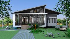 Beautiful House Plans, Beautiful Homes, Small House Design, Modern House Design, House Front, My House, Thai House, Modern Bungalow, Tiny House Plans