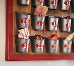 Personalized Advent Calendar! Use small tin cups with numbered labels on a framed board to be filled with personalized goodies or adult items for the countdown to Christmas (liquors, makeup samples, facial treatments etc!). (or buy this one from Pottery Barn).