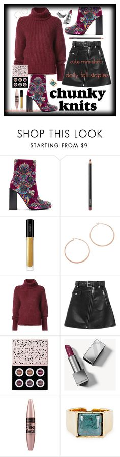 """""""Daily Fall Staples; Minis + Chunky Knits"""" by maggiesinthemoon on Polyvore featuring Jeffrey Campbell, MAC Cosmetics, Illamasqua, Jennifer Zeuner, BY. Bonnie Young, Maje, ColourPop, Burberry, Maybelline and Isabel Marant"""