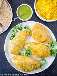 These Yogurt Marinated Chicken Breasts are flavourful, tender and moist. Serve with turmeric infused basmati rice and a vibrant cilantro sauce for a delicious dinner.