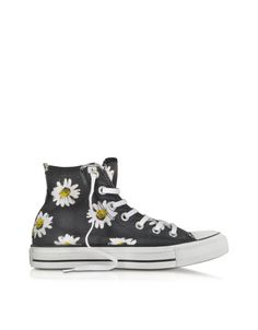 Converse Limited Edition Chuck Taylor All Star Black and Citrus Daisy Printed Canvas High Top Sneaker 3.5 (5.5 WOMENS US | 3.5 UK | 36 EU) at FORZIERI