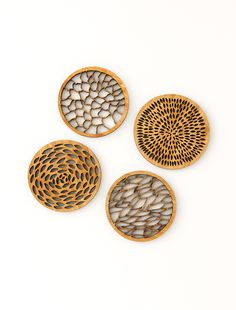 """Set of 4 """"abstract"""" coasters made from 3-ply bamboo."""