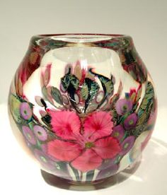 David Lotton Bright Pink Clematis and Hollyhocks Bowl 7 x 7 in.  Blown Glass