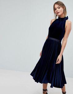 c1e3df81bfca Ted Baker Pleated Midi Dress in Velvet