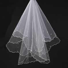 Sale 23% (4.88$) - Scallop Pearl Yarn 1.5 Meters Popular Bridal Veil