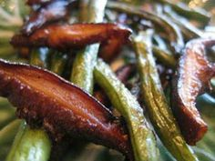 Shiitake mushrooms and green beans.  skillet; vegetable side dish