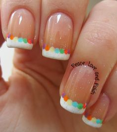 Peace, Love and Polish: Easter Nails: Simple French Mani With Colorful Dots