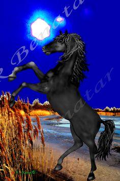 Blue Moon Horse: Mixed Media: Digital Painting: Illustration: Photography: Designs by Rami Benatar