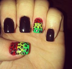 Black rasta nails
