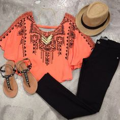 Not the necklace or hat. Same sandals with no studs. Love the top if it were longer, not a crop top.