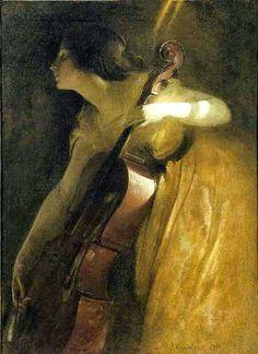 ~ John White Alexander  ~ American artist, 1856-1915: The Cellist
