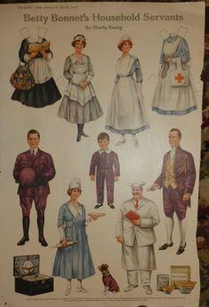 Antique Vintage Betty Bonnet Paper Dolls by JudesHandtiques, $29.00