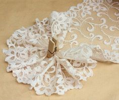 Lace Trim Double Scallop Edging Embroidered Lace by LaceNTrim