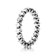 An unending line of tiny silver stars gives this ring a subtle and decorative look - the perfect and versatile band for stacking with multiple other ring styles. #PANDORA #PANDORAring