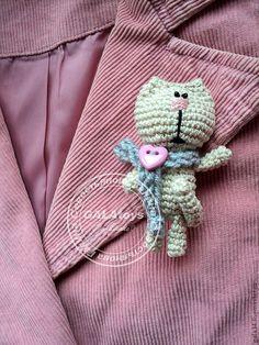Brooch handmade.  Fair Masters - handmade.  Buy Knitted brooch.  Cat .. Handmade.  Brooch, vintage brooch
