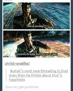 Youre making the villain too weak. I think he says this becaise he doesnt think Thor was strong enough to let her go for the sake of Asgard. He doesnt know love that strong amd unconditional, THATS why it's heartbreaking.