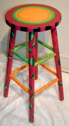 hand painted stool: I can do this Whimsical Painted Furniture, Hand Painted Furniture, Funky Furniture, Refurbished Furniture, Paint Furniture, Repurposed Furniture, Home Decor Furniture, Furniture Makeover, Do It Yourself Furniture