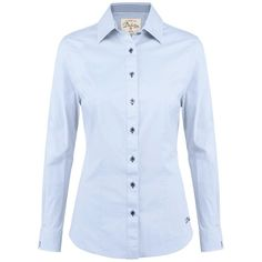Women's Dubarry Carnation Blouse ($97) ❤ liked on Polyvore featuring tops, blouses, long sleeve shirts, blue checked shirt, shirts & blouses, blue blouse and blue button shirt