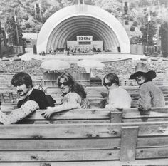 The Mamas & The Papas in the bleachers at the Hollywood Bowl in 1966.