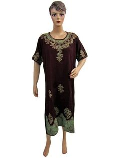 Womens Fashion Loung Wear Kaftan Maroon Green Batik Print Embroidered Dress Caftan Mogulinterior, http://www.amazon.com/dp/B0085JAA2G/ref=cm_sw_r_pi_dp_gglVpb11BERMF$36.99