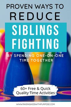 Reduce siblings fighting and keep your kids happy by spending one-on-one time together. Included is a free printable with over 60 free activities to do together and most you can do at home or without going too far. All kids need is your undivided attention for 5-10 minutes a day! #raisingkidswithpurpose #activities #parenting #qualitytime Autism Activities, Time Activities, Adhd Kids, Children With Autism, Kids And Parenting, Parenting Hacks, Family Mission Statements, Behavior Management Strategies, Sibling Fighting