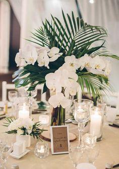 25 Lush And Bold Tropical Wedding Centerpieces Tropical Wedding Centerpieces, Unique Centerpieces, Wedding Flower Arrangements, Flower Centerpieces, Wedding Decorations, Table Decorations, Centerpiece Ideas, White Orchid Centerpiece, Tropical Wedding Decor