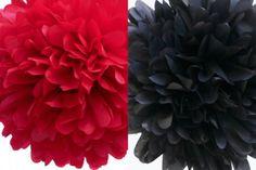 6 Tissue Poms- Ladybug Party. $24.00, via Etsy.  Or, make yourself!