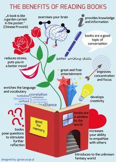 Several benefits od reading books. Designed by gosiarysuje.pl