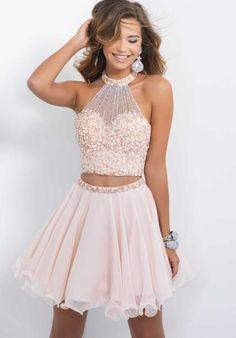 Blush Beaded Halter Top Dress 10070