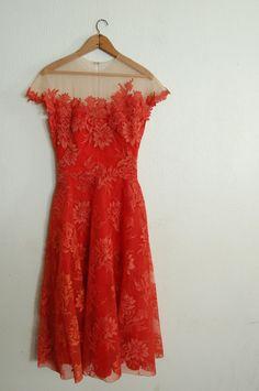 Vintage 1950's Spiced Orange Dress #retro #vintage #feminine #designer #classic #fashion #dress #highendvintage