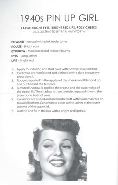 "How-To Get the ""Pin-Up Girl Look"" - bright eyes, rosy cheeks red l. How-To Get the ""Pin-Up Girl Look"" - bright eyes, rosy cheeks red lips, illustrated by the original Pin-Up Girl herself, Rita Hayworth. 1950 Makeup, Pin Up Makeup, Retro Makeup, Hair Makeup, Makeup Style, Witch Makeup, Makeup Class, Scary Makeup, Clown Makeup"