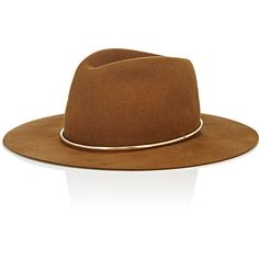 Janessa Leone Women's Savoy Wide-Brim Wool Fedora ($225) ❤ liked on Polyvore featuring accessories, hats, brown, wool fedora, wool hat, crown hat, wide brim fedora and wool fedora hat