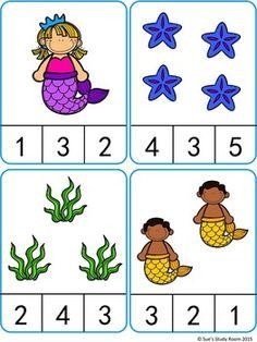 Mermaid Count and Clip Cards Math Activities For Kids, Autism Activities, Kindergarten Math Worksheets, Math For Kids, In Kindergarten, Numbers Preschool, Preschool Learning, Math Gs, Montessori Activities