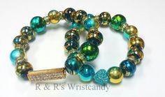 Blue and Green Speckled Beaded Bracelet by RandRsWristCandy, $9.00 #flashsale #etsy #handmade