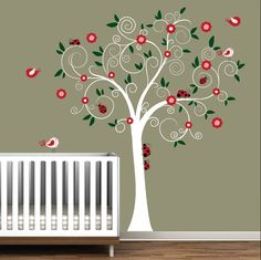 Baby Nursery Wall Decal Wall sticker Tree Decals-Ladybugs tree. $99.00, via Etsy.
