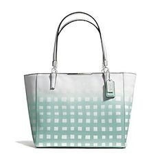 6a92d27f95 Madison East West Tote In Gingham Saffiano Leather Cheap Coach Bags