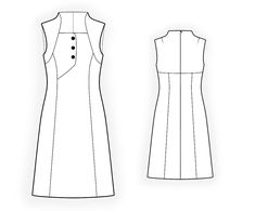 Dress  - Sewing Pattern #4371 Made-to-measure sewing pattern from Lekala with free online download. Fitted, Princess seams, Waist seam, Asymetrical, Buttoned, Zipper closure, Square neck, Stand collar, No sleeves, Knee length, A-line skirt, No pockets