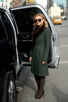 Nasiba going green. Unless you count the SUV. Then...not so much. NYFW.