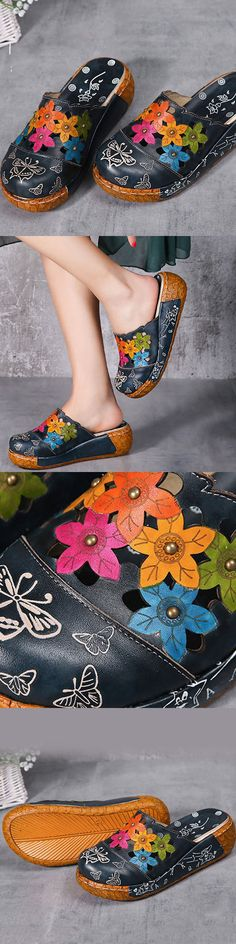 US$54.78 Socofy Originalpin Leather Butterfly Print Silppers Flower Platform Retro Sandals.  Cute!!!