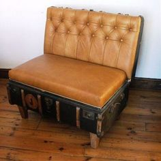 Vintage suitcase recycled as a seat! #ChairIdeas