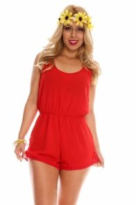 RED FLORAL LACE SCOOP NECKLINE SLEEVELESS LACE TRIM ELASTIC WAISTBAND CASUAL ROMPER JUMPSUIT