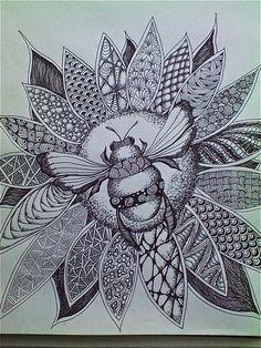 Lovely Bumble bee Zentangle